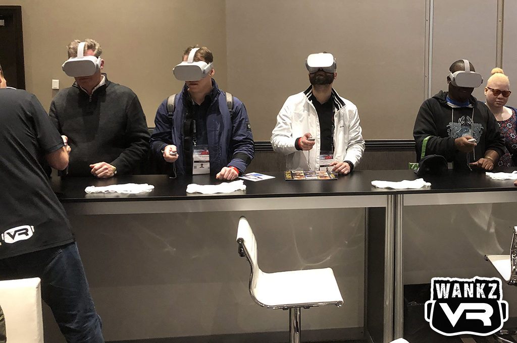 Attendees Try VR Porn - WankzVR Booth, 2019 AVN Show